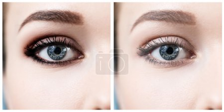 Photo pour Belle oeil de femme avec et sans maquillage, avant et après . - image libre de droit