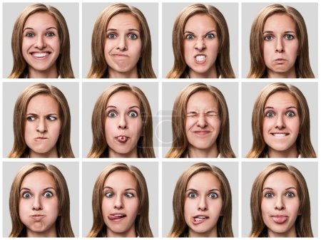 Photo for Multiple close-up portraits of the same woman expressing different emotions over gray background - Royalty Free Image