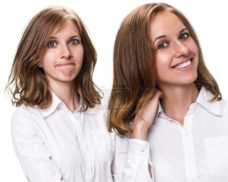 Photo pour Cheveux avant et après traitement. Concept de soins capillaires. Traitement des cheveux abîmés - image libre de droit