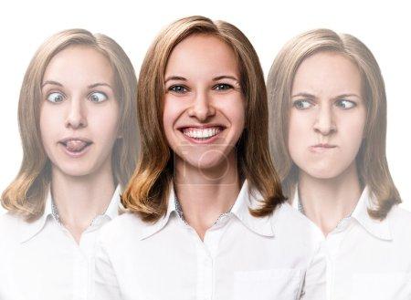 Young woman makes fun faces