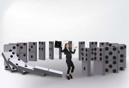 Photo for Domino  effect isolated on white background - Royalty Free Image