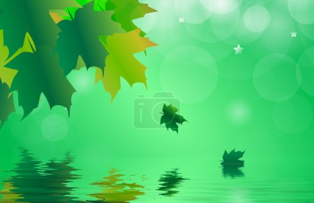 Photo for Abstract of a maple leaves in autumn reflected over gently rippled water - Royalty Free Image
