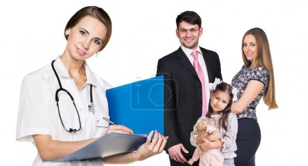 Beautiful family with doctor