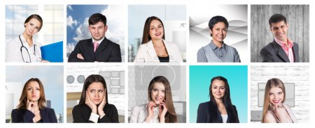 Photo for Collage of different portraits of modern people - Royalty Free Image