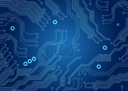 Photo for Motherboard of computer on the blue circuit board background - Royalty Free Image