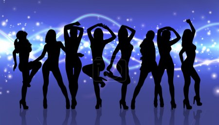 Group of silhouette girls dancing