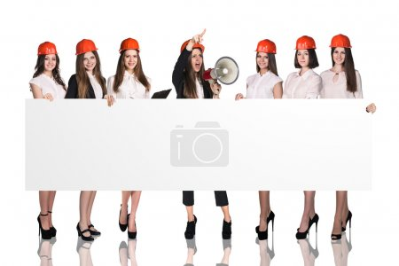 Photo for Group of people with copy space over white background - Royalty Free Image