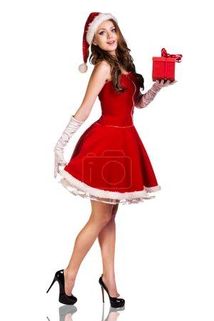 Christmas woman in Santa Claus hat
