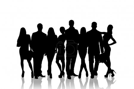 Large group of people silhouette