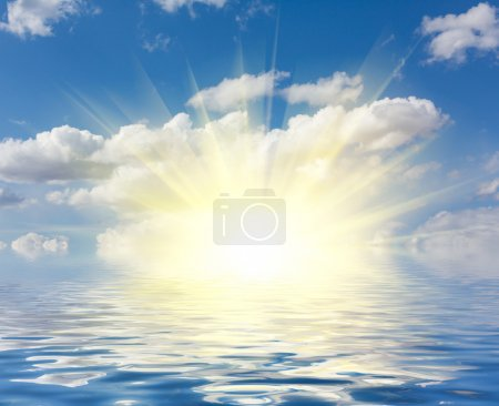 Photo for Perfect sky and water of ocean with bright sunshine - Royalty Free Image