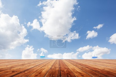Beauty seascape under blue clouds sky
