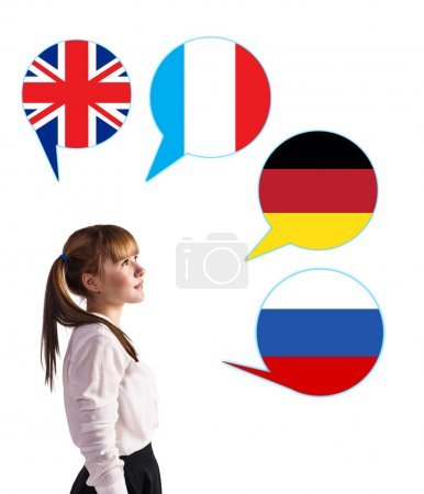 Young girl and bubbles with countries flags.