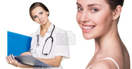 Doctor woman and beautiful patient