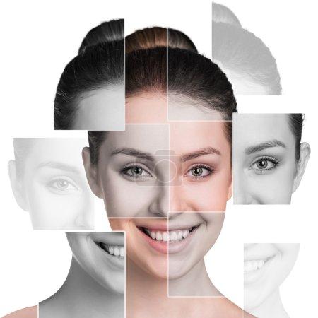 Photo pour Visage féminin parfait composé de différents visages. Concept de chirurgie plastique . - image libre de droit
