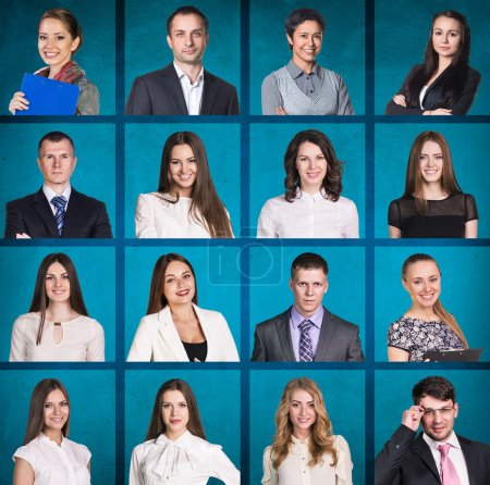 Photo for Business people portrait collage. Square shape. Blue background - Royalty Free Image