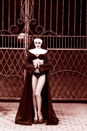 Sexy nun against the background of the gates...