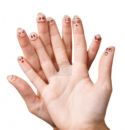 Funny fingers with smiley face