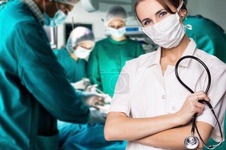 Surgery team operating