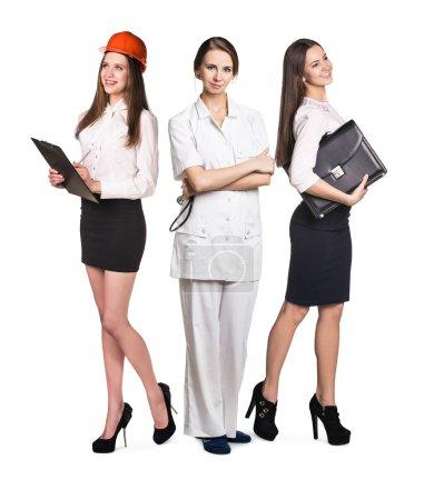 drei Frauen mit unterschiedlichen Berufen