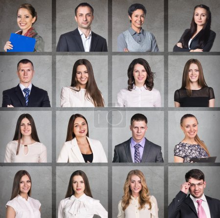 Photo for Business people portrait collage. Square shape. Gray background - Royalty Free Image