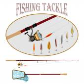 Spinning with reel and a set of different baubles for fishermen and shop vector illustration