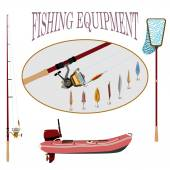 Spinning with reel and a set of different baubles rubber boat with motor for sports fishing and shopping vector illustration