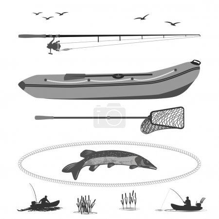 Illustration pour A fisherman in a boat fishing, silhouette. A rubber boat top and side, near Spinning and landing net. fish called Pike.  totally vector illustration - image libre de droit