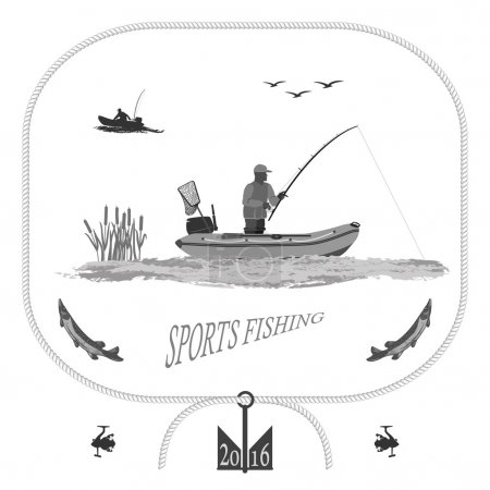 Illustration pour  A fisherman in a boat fishing, silhouette. A rubber boat, near spinning and landing net. fish called Pike. Gull and bulrush  totally vector illustration - image libre de droit