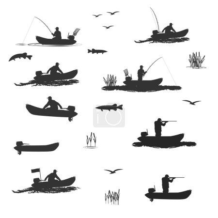 Illustration pour Entraîneur-chef des pêcheurs club monte sur un bateau pneumatique avec un moteur. pêcheur dans une barque attrape un poisson, chasseur, tir fusil série de silhouettes. totalement l'illustration vectorielle - image libre de droit