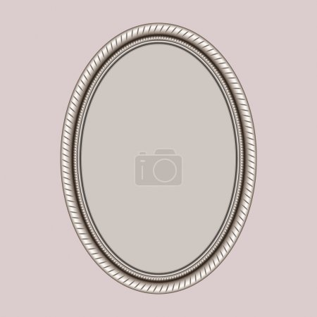 Illustration for Openwork oval frame with thread on a pink background - Royalty Free Image