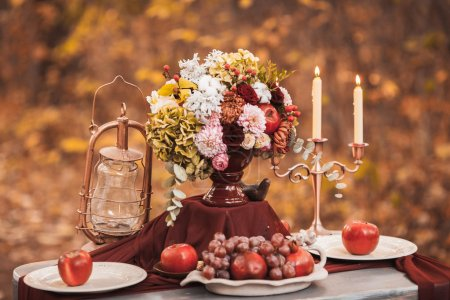 Beautiful decoration for the wedding table on the nature