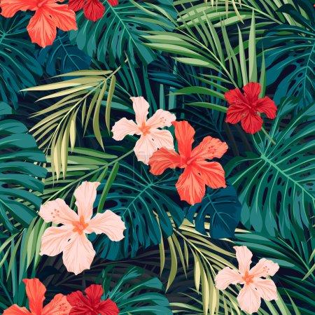 Illustration pour Modèle sans couture été coloré hawaïen avec plantes tropicales et fleurs d'hibiscus, illustration vectorielle - image libre de droit