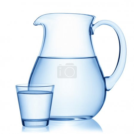 Pitcher and a glass of water.
