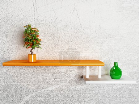 vase with the plant on the shelf
