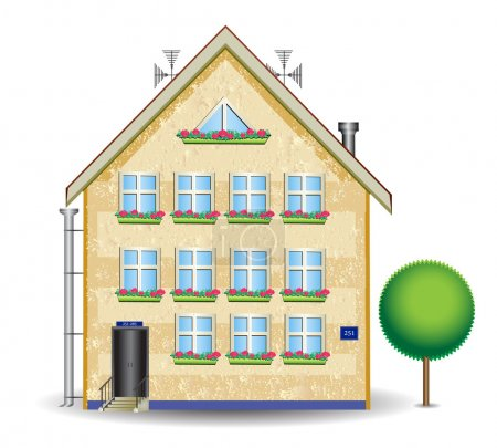 Illustration for Large apartment house plastered with plastic windows and wood - Royalty Free Image