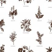Seamless pattern with poisonous plants