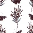 Seamless pattern with Ink hand drawn Admiral butte...