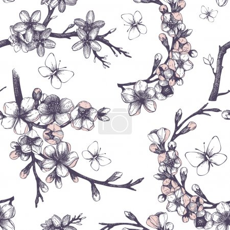Illustration for Seamless pattern with hand drawn blooming fruit tree twigs and butterflies. Vector spring background - Royalty Free Image
