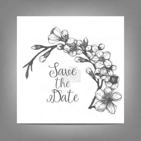 Illustration for Vintage wedding card with hand drawn cherry blossom. Save the date card. Wedding invitation. Vector floral illustration. - Royalty Free Image