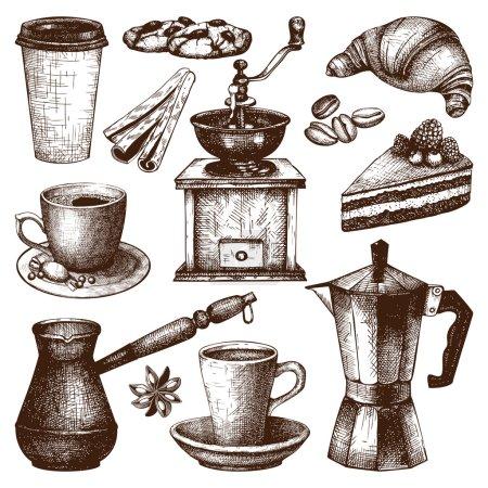 Illustration pour Collection vectorielle d'illustrations de café vintage dessinées à la main isolées sur fond blanc pour menu restaurant ou café. Illustration vintage café et pâtisserie - image libre de droit