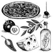 Vintage illustration of pizza ingredients