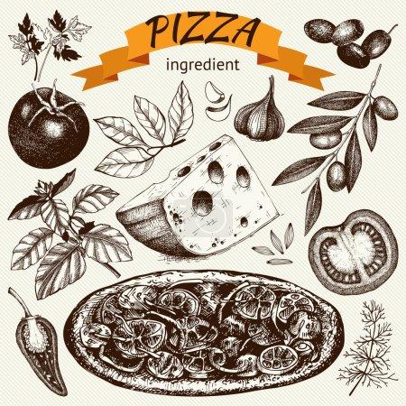 Vintage Pizza sketch set