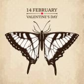 Valentine's day card with butterfly