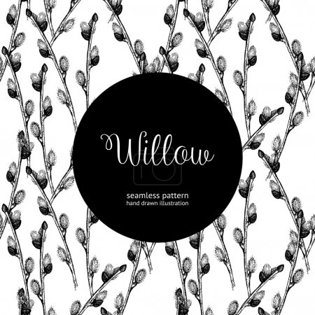 Illustration for Seamless vintage pattern with ink hand drawn willow tree twigs. Vector natural background. Easter illustration - Royalty Free Image