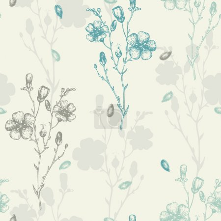 Illustration for Seamless vector pattern with ink hand drawn flax flower sketch. Vintage farm background - Royalty Free Image