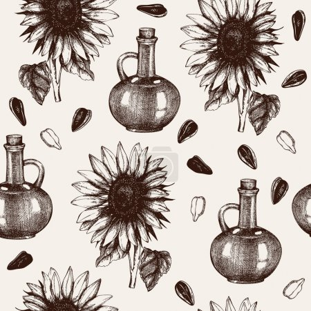 Illustration for Seamless pattern with ink hand drawn sunflower seed oil sketch isolated on white - Royalty Free Image