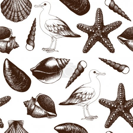 Illustration for Seamless pattern with hand drawn sea shells and sea gulls sketch isolated on white. - Royalty Free Image