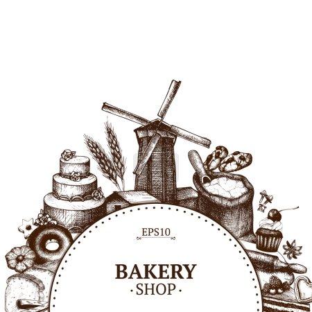 Vintage bakery sketch background.