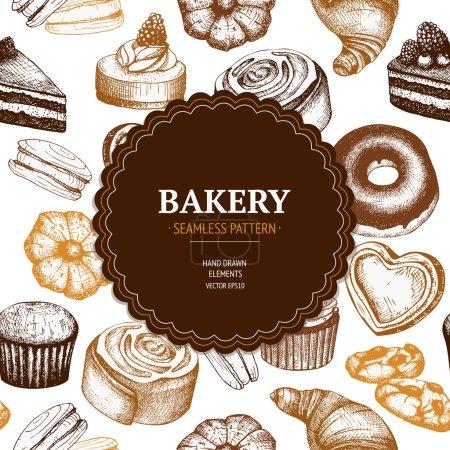 Illustration pour Vintage fond croquis de boulangerie. Conception vectorielle pour boulangerie ou boulangerie avec illustration de pains et pâtisseries dessinés à la main . - image libre de droit