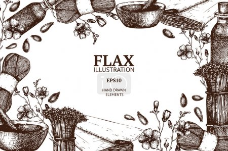 Illustration for Vector design with hand drawn flax illustration isolated on white. Vintage flax sketch background - Royalty Free Image